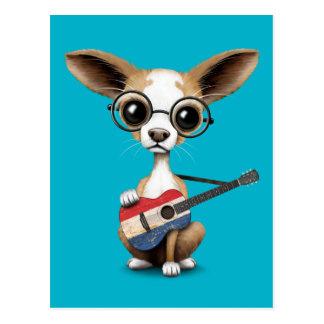 Chihuahua Puppy Dog Playing Dutch Flag Guitar Postcard