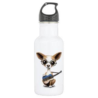 Chihuahua Puppy Dog Playing Estonian Flag Guitar Water Bottle