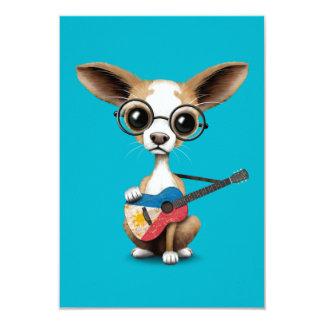 Chihuahua Puppy Dog Playing Filipino Flag Guitar Card