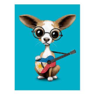 Chihuahua Puppy Dog Playing Filipino Flag Guitar Postcard