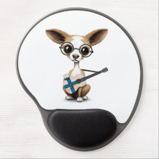 Chihuahua Puppy Dog Playing Finnish Flag Guitar Gel Mouse Pad