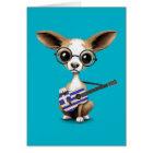 Chihuahua Puppy Dog Playing Greek Flag Guitar Card