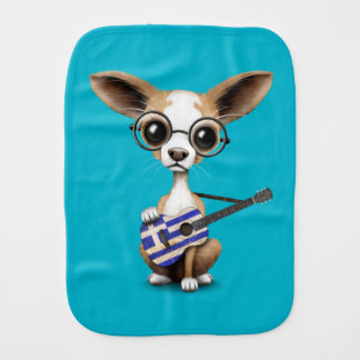 Chihuahua Puppy Dog Playing Greek Flag Guitar Baby Burp Cloths