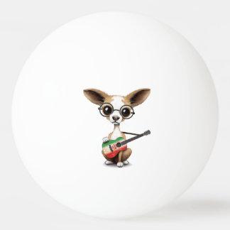 Chihuahua Puppy Dog Playing Iranian Flag Guitar Ping-Pong Ball