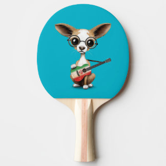 Chihuahua Puppy Dog Playing Iranian Flag Guitar Ping Pong Paddle