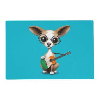 Chihuahua Puppy Dog Playing Irish Flag Guitar Placemat