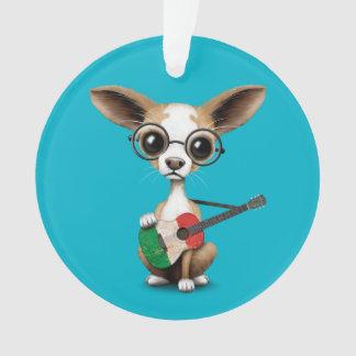 Chihuahua Puppy Dog Playing Italian Flag Guitar