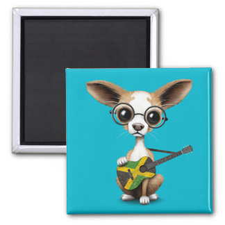 Chihuahua Puppy Dog Playing Jamaican Flag Guitar Magnet