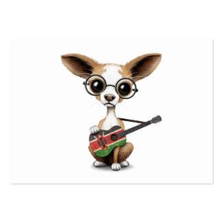 Chihuahua Puppy Dog Playing Kenyan Flag Guitar Large Business Card