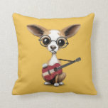 Chihuahua Puppy Dog Playing Latvian Flag Guitar Throw Pillows