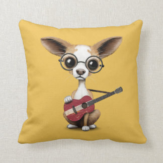 Chihuahua Puppy Dog Playing Latvian Flag Guitar Throw Pillow