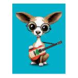 Chihuahua Puppy Dog Playing Lebanese Flag Guitar Postcard