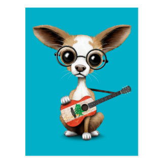 Chihuahua Puppy Dog Playing Lebanese Flag Guitar Postcard