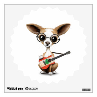 Chihuahua Puppy Dog Playing Lebanese Flag Guitar Room Sticker