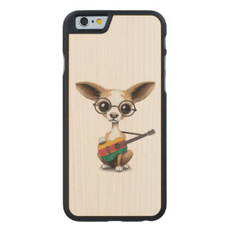 Chihuahua Puppy Dog Playing Lithuanian Flag Guitar Carved® Maple iPhone 6 Slim Case