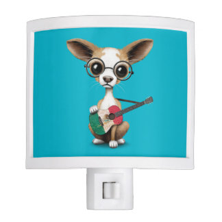 Chihuahua Puppy Dog Playing Mexican Flag Guitar Night Light