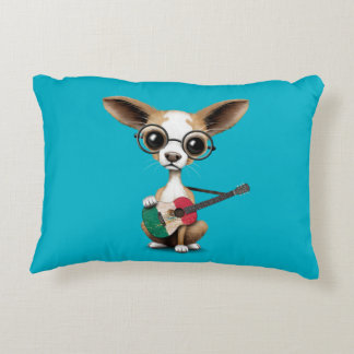 Chihuahua Puppy Dog Playing Mexican Flag Guitar Decorative Pillow
