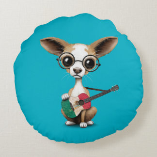 Chihuahua Puppy Dog Playing Mexican Flag Guitar Round Pillow