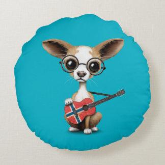 Chihuahua Puppy Dog Playing Norwegian Flag Guitar Round Pillow