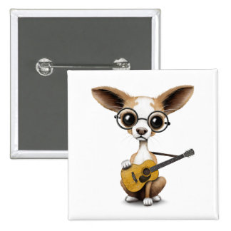 Chihuahua Puppy Dog Playing Old Acoustic Guitar 2 Inch Square Button