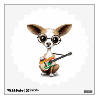 Chihuahua Puppy Dog Playing PEI Flag Guitar Wall Sticker