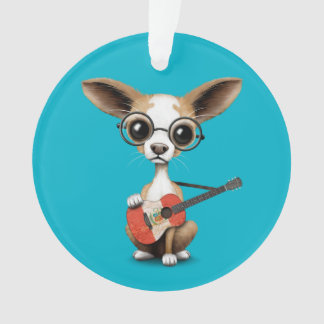 Chihuahua Puppy Dog Playing Peruvian Flag Guitar Ornament
