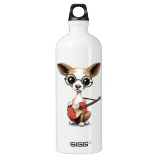 Chihuahua Puppy Dog Playing Peruvian Flag Guitar Water Bottle