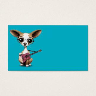 Chihuahua Puppy Dog Playing Qatari Flag Guitar Business Card
