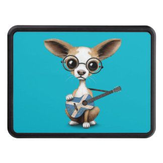 Chihuahua Puppy Dog Playing Scottish Flag Guitar Trailer Hitch Cover