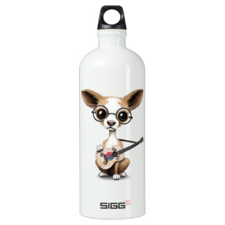 Chihuahua Puppy Dog Playing South Korean Guitar Aluminum Water Bottle