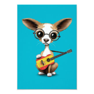 Chihuahua Puppy Dog Playing Spanish Flag Guitar Personalized Invite