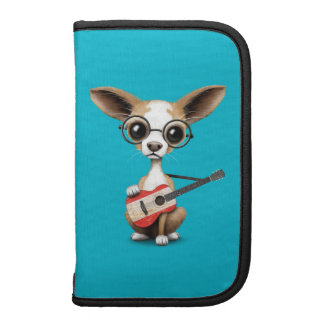 Chihuahua Puppy Dog Playing Tahiti Flag Guitar Planner