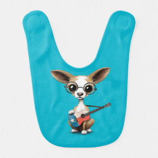 Chihuahua Puppy Dog Playing Texas Flag Guitar Baby Bibs