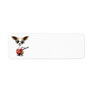 Chihuahua Puppy Dog Playing Vietnamese Flag Guitar Labels