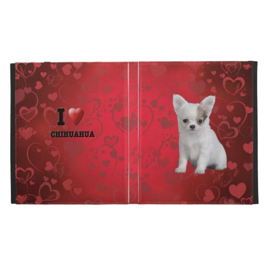 Chihuahua puppy in red iPad folio covers
