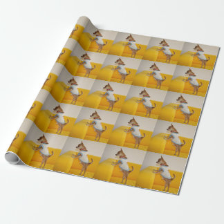 Chihuahua Puppy On Yellow Sofa Wrapping Paper