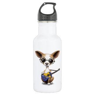 Chihuahua Puppy Playing Bosnia Herzegovina Guitar Water Bottle