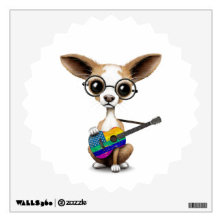 Chihuahua Puppy Playing Rainbow American Guitar Wall Sticker