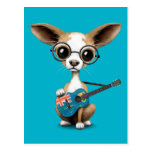 Chihuahua Puppy Playing Turks and Caicos Guitar Postcard