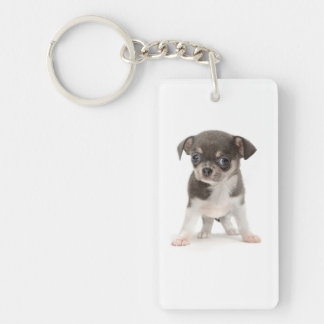 Chihuahua puppy standing of white background Double-Sided rectangular acrylic keychain