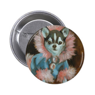 Chihuahua puppy with pink and blue jacket button