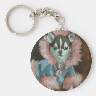 Chihuahua puppy with pink and blue jacket keychains