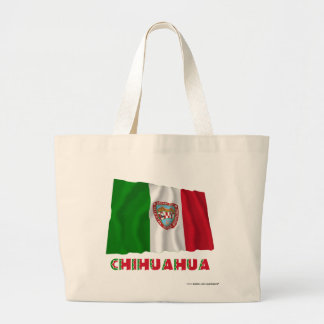 Chihuahua que agita la bandera oficiosa bolsa tela grande