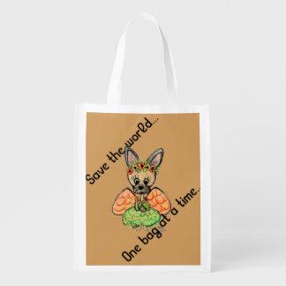 Chihuahua que ahorra el mundo… por el villancico bolsa reutilizable