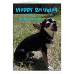 ¡Chihuahua que canta feliz cumpleaños! Tarjeta
