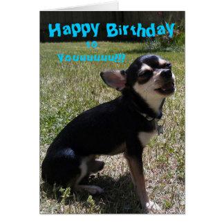 ¡Chihuahua que canta feliz cumpleaños! Tarjeta De Felicitación