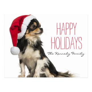 Chihuahua que lleva un gorra del navidad postal
