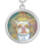 Chihuahua Queen fun original Long haired dog art Necklaces