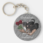 Chihuahua Roses Keychain