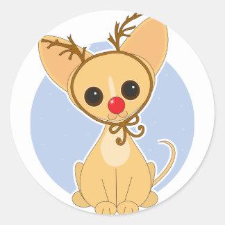 Chihuahua Rudolf Classic Round Sticker
